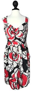 Nanette Lepore short dress Red/Black/Beige Floral Rose Print on Tradesy