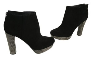 MICHAEL Michael Kors Black suede leather embossed leather heels and platform back zippers ankle Boots