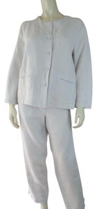Eileen Fisher Eileen Fisher Blazer Pants Suit Set M Off White Irish Linen Soft 2pc