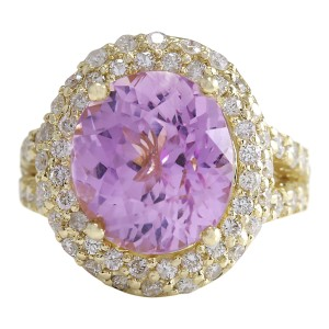 Fashion Strada 11.51 CTW Natural Pink Kunzite And Diamond Ring In 14K Yellow Gold