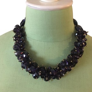 Kenneth Jay Lane amethyst faceted beads cluster gold necklace