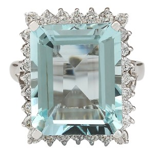 Fashion Strada 12.29 CTW Natural Aquamarine And Diamond Ring In 14k White Gold