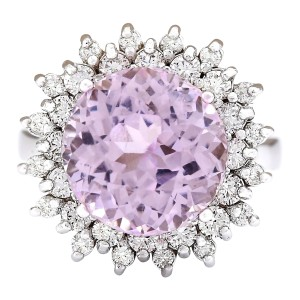 Fashion Strada 12.37 CTW Natural Kunzite And Diamond Ring In 14k White Gold