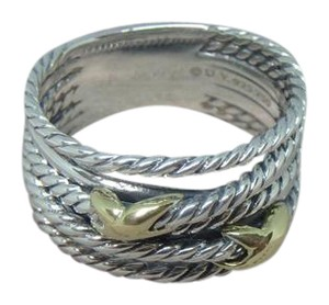 David Yurman like new with pouch Double X Ring With Gold size 10
