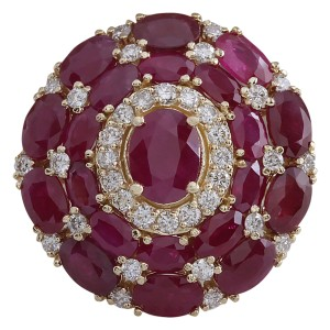 Fashion Strada 13.23 CTW Natural Red Ruby And Diamond Ring 14k Solid Yellow Gold