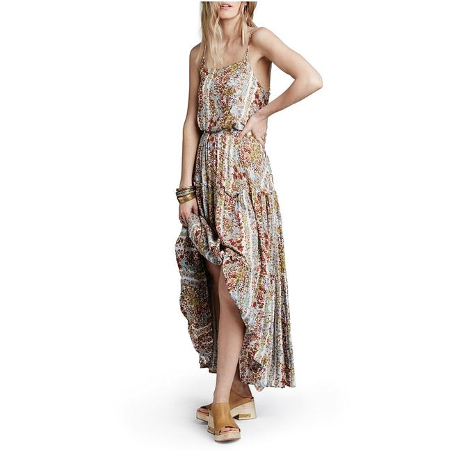 Item - Ivory XS Spring Garden Valerie Sleeveless Printed Tiered Ruffle Long Casual Maxi Dress Size 2 (XS)