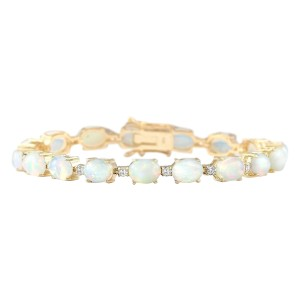 Fashion Strada 13.80 CTW Natural Opal And Diamond Bracelet In 14k Yellow Gold