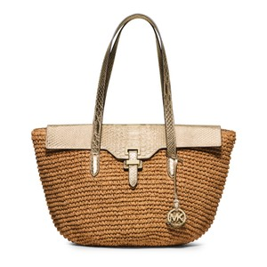 Michael Kors Naomi Straw Summer Look Tote in Gold
