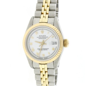 Rolex Rolex Datejust Ladies 2-Tone White Roman Dial Fluted 26MM Watch 69173