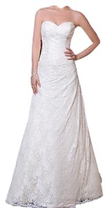Justin Alexander Ivory Lace Over Light Gold Gown Sweetheart 6065 Modern Wedding Dress Size 8 (M)