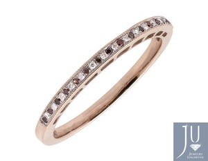 Other One Row MIlgrain 2MM Red/ White Diamond Wedding Band Ring 1/12ct