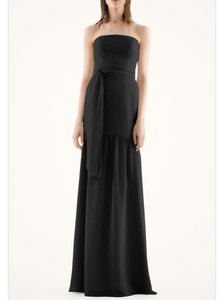 Vera Wang Black Chiffon Fit and Flare Strapless Drop Waist Modern Bridesmaid/Mob Dress Size 8 (M)