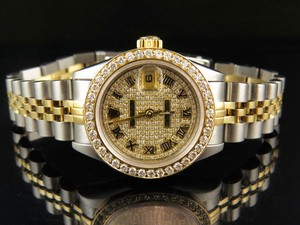 Rolex 26 MM Rolex 2 Tone Datejust 18k/Steel Pave Dial Diamond Watch 3.5 Ct