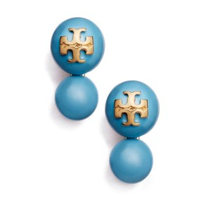 Tory Burch NEW Tory Burch Crystal Pearl Double Studs in Turquoise Blue Falls 16k