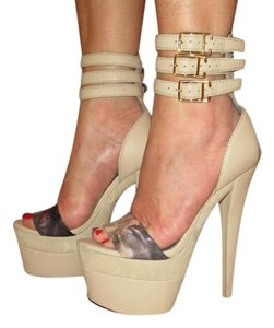 Monika Chiang Sandal Leather Sexy Strappy Taupe Platforms