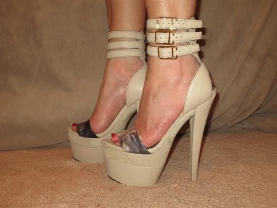 Monika Chiang Sandal Leather Sexy Strappy Taupe Platforms Image 1