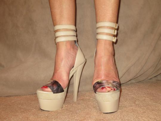 Monika Chiang Sandal Leather Sexy Strappy Taupe Platforms Image 2