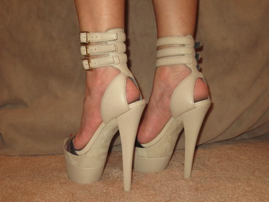 Monika Chiang Sandal Leather Sexy Strappy Taupe Platforms Image 3