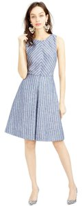 J.Crew short dress Blue, White Striped Chic Linen Cut-out Classic on Tradesy