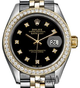 Rolex Rolex 26mm Classic Black Genuine Diamonds _ 18K Yellow Gold