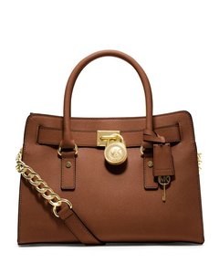 Michael Kors Lock Charm Classic Saffiano Leather Leather Vintage Satchel in Luggage