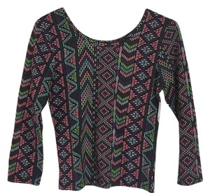 Rue 21 Top Black with pink, purple, lime green, light blue, and white print