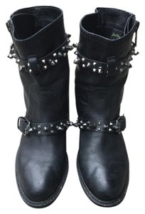 Sam Edelman Ankle Leather Studded Black Boots