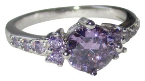rlss STERLING SILVER 2 Carat Round Purple CZ with Clear Accents Size 7