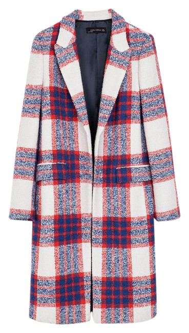 Item - Red Blue White Checkered Print Coat Size 4 (S)