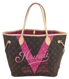 Louis Vuitton Neverfull Mm Neverfull Hawaii Limited Edition Rose Ballerine Tote in Pivoine