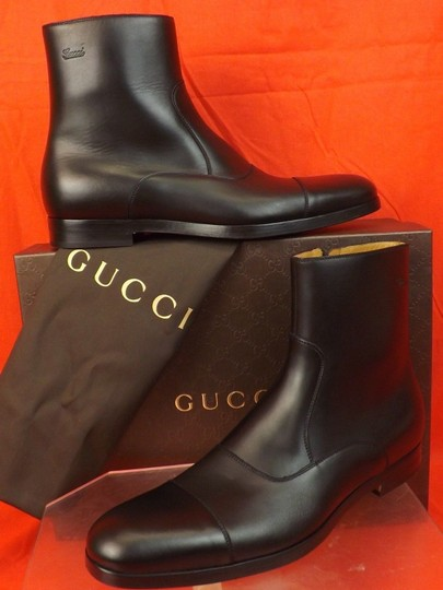 Gucci Black Men's Cork Leather Script Logo Zip Ankle Cap Toe Boots 8.5 9.5 Shoes Image 1
