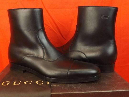 Gucci Black Men's Cork Leather Script Logo Zip Ankle Cap Toe Boots 8.5 9.5 Shoes Image 4