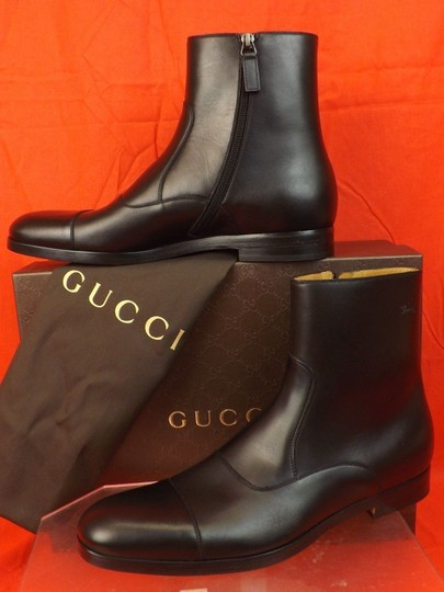 Gucci Black Men's Cork Leather Script Logo Zip Ankle Cap Toe Boots 8.5 9.5 Shoes Image 7