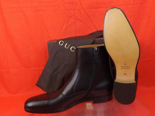 Gucci Black Men's Cork Leather Script Logo Zip Ankle Cap Toe Boots 8.5 9.5 Shoes Image 8