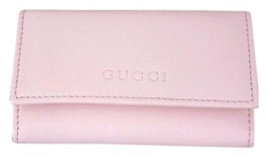 Gucci GUCCI Leather Key Chain/ Holder BABY PINK w/Box 260989 6802
