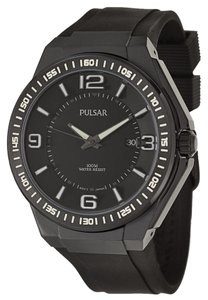 Pulsar M en's Black Dial & Rubber Sports Strap Watch PS9225