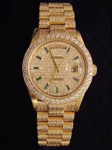 Rolex Mens Rolex 18K Gold Day-Date President Full Diamond 18038