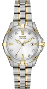 Citizen EW1934-59A Women's Eco-Drive White Dial Diamond Watch