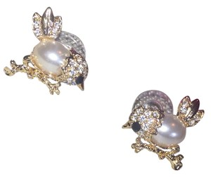 Betsey Johnson Adorable Preppy Pearl & Crystal Birdies by Bestsy Johnson