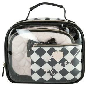 Betsey Johnson Travel Case Make Up Train Case black and white Travel Bag