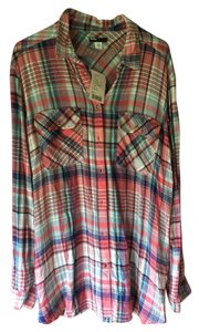 BDG Button Down Shirt Blue/Pink/White Plaid