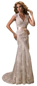 Maggie Sottero Wedding Lace Open Back Satin Dress