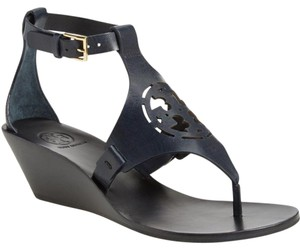 Tory Burch Leather Wedge Leather Black Sandals