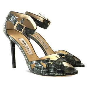 Jimmy Choo Leather Ankle Strap Peep Toe Cut-out Stiletto Silver Sandals