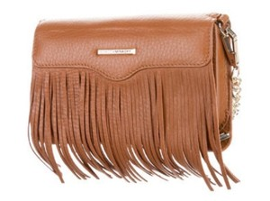 Rebecca Minkoff Fringe Strap Genuine Leather Brown Gold Hardware Cross Body Bag