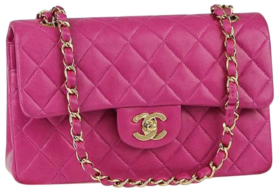 1cd48e11f79d Chanel 2.55 Reissue Double Flap Classic Quilted Cc Logo Small Medium  Fuchsia Pink Lambskin Leather Shoulder Bag
