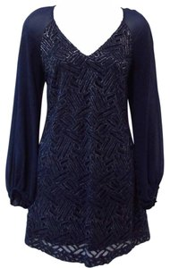 Lilly Pulitzer short dress Deep Blue Sheath Longsleeve Retro Lace Metallic on Tradesy