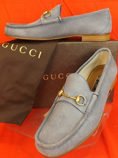 225dbe99b Gucci Light Blue Horsebit Mens Suede 1953 Gold Moccasin Loafers 13.5 14.5  Shoes Image 3