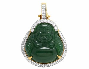 Other 10K Yellow Gold Real Diamond Synthetic Jade Buddha Pendant Charm .93CT