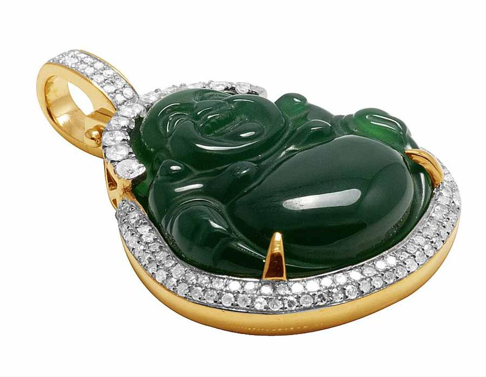 10k yellow gold real diamond synthetic jade buddha pendant 93ct 123456 mozeypictures Image collections